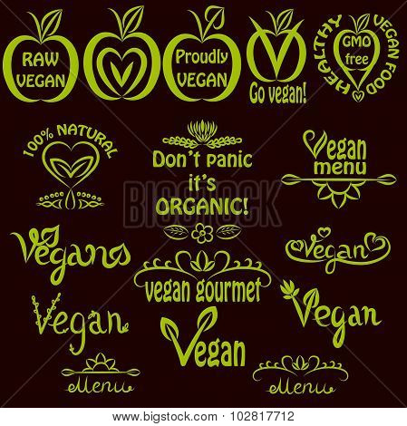 Hand written set of vegan icons, vegan text labels for menus, food labels, and food packaging