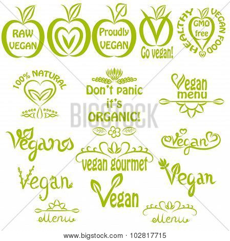 Hand written set of vegan icons