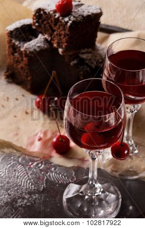 Two glasses with cherry liqueur