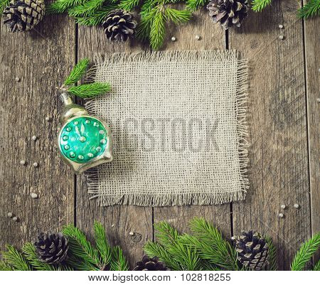 Frame For Inscriptions With Christmas Decorations Card