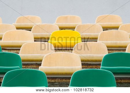 Green, Beige And Yellow Seats In Old Opened Stadium 1