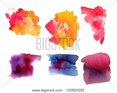 A set of abstract watercolour design elements on white background