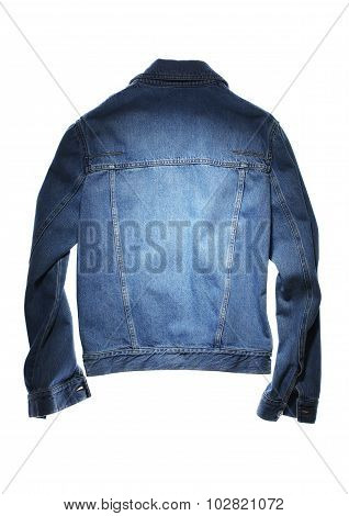 back side of blue jeans jacket