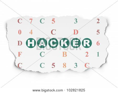 Security concept: Hacker on Torn Paper background
