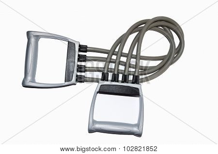 grey rubber expander on white background