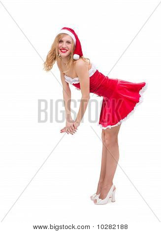 Smiling Sexy Girl Wearing Santa Claus Clothes