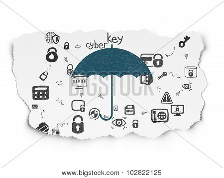 Safety concept: Umbrella on Torn Paper background