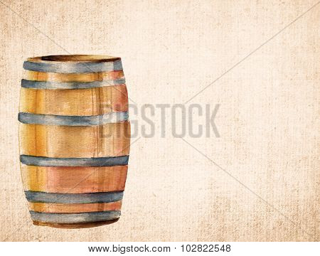A watercolor drawing of a barrel on old brown paper with a place for text