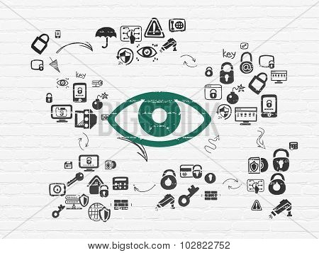 Privacy concept: Eye on wall background