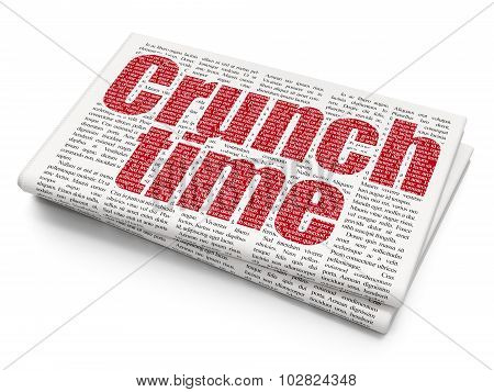 Business concept: Crunch Time on Newspaper background