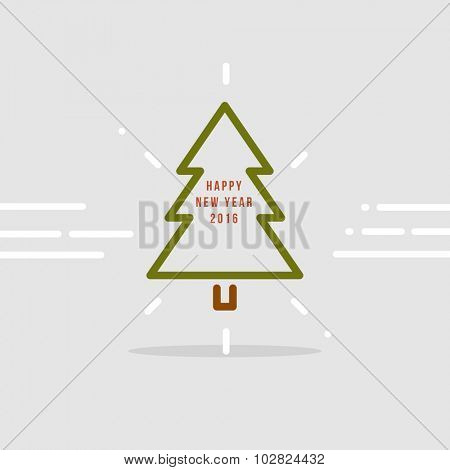 New Year 2016 Line Design Christmas Tree Icon