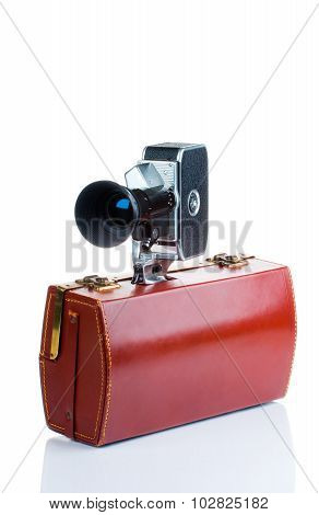 Vintage camera with case