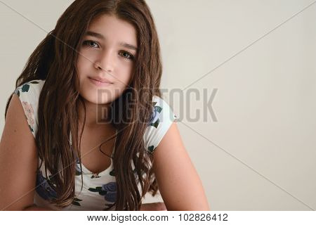 Portrait of young brunette girl