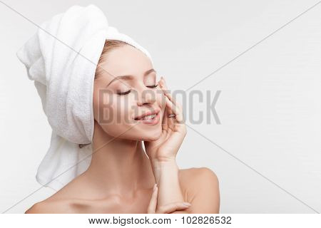 Cheerful healthy woman is resting after shower