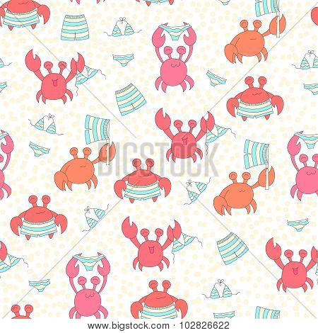 Seamless Colorful Pattern With Crabs