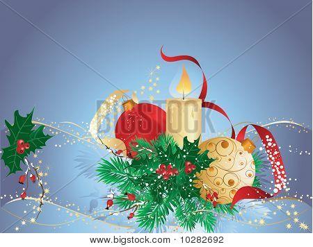 Blue Christmas Vector Card.eps