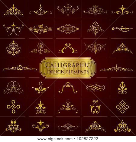 Calligraphic design elements in gold - Vector set
