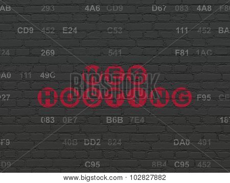 Web development concept: Web Hosting on wall background
