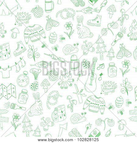 Seamless Doodle Camping Pattern