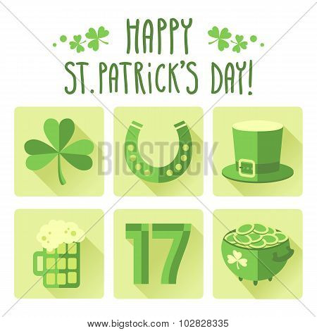 St. Patrick's Day Icon Set In Flat Design