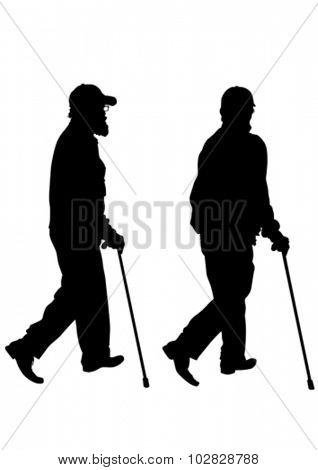 Disabled people with cane one white background