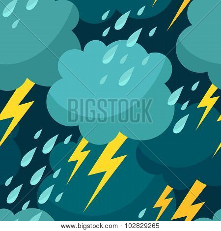 Seamless Pattern With Clouds, Raindrops And Lightnings