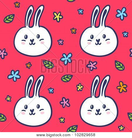 Seamless Pattern With Doodle Rabbits And Flowers