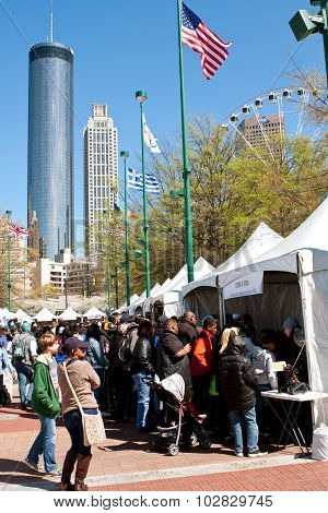 Families Crowd Exhibits And Tents At Atlanta Science Fair