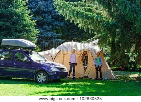 Family Summer Vacation With Tent.