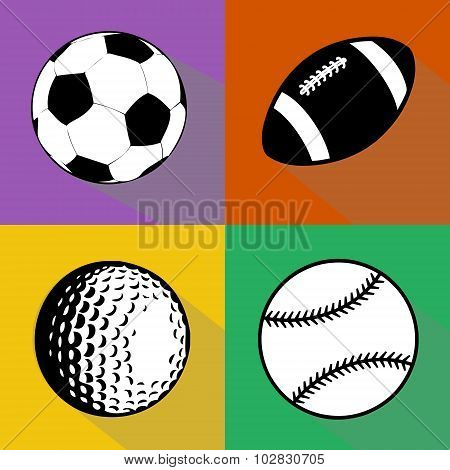 Black And White Sport Balls Vector Set