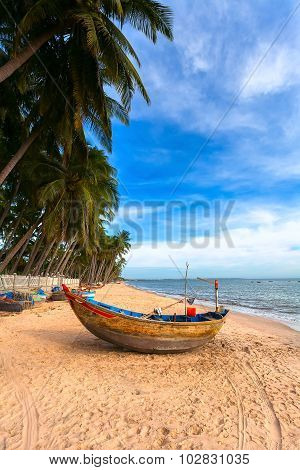 The Vietnamese Boat On A Sea Beach