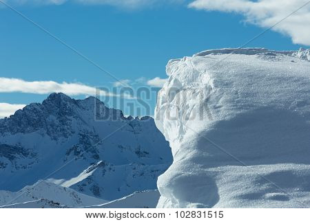 Cliff with snow (Austria).