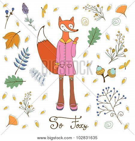 So foxy elegant concept card with fox character