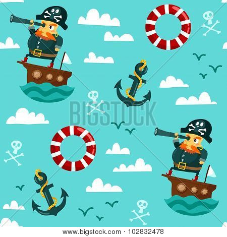 Seamless Pattern With Pirate On Boat