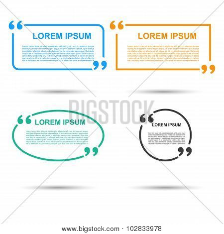 Quotation Speech banner. Quote vector set icon.