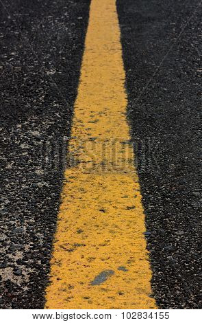 Old Yellow Line On Road Background.