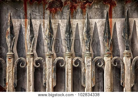 Rusty Wrought Iron Fence