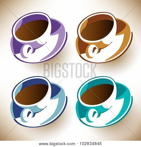 Four colorful coffee cups