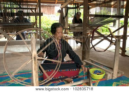 Lua Hill Tribe Minority Is Spinning Reels Is Made Of Bamboo In Thailand.