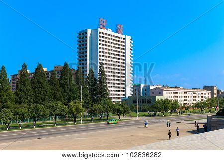 The house on the street of Pyongyang, North Korea