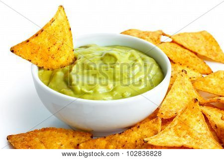 Tortilla chips and dip.