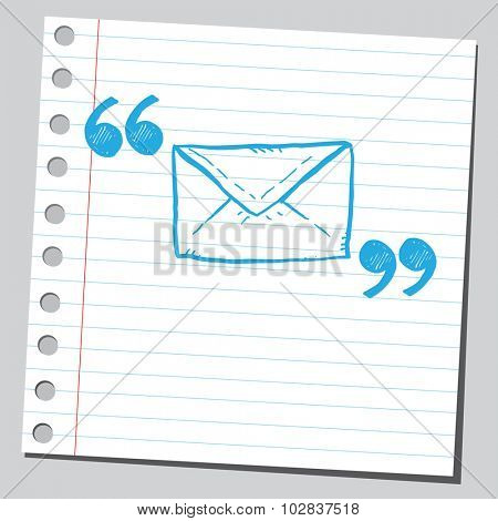 Envelope (message symbol)  in quotation marks