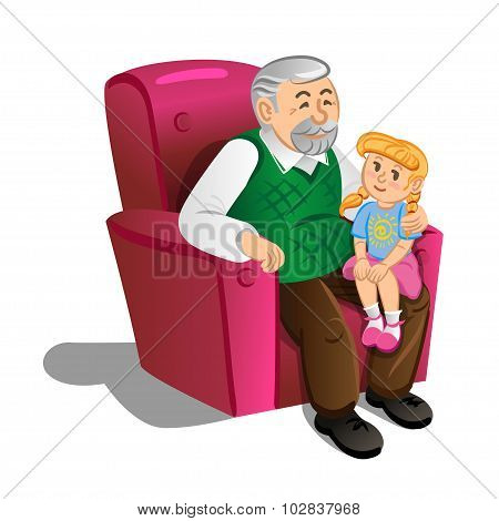 Grandfather With Granddaughter. Illustration In Cartoon Style, Vector.