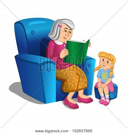 Grandmother Reads A Book To The Girl. Vector Illustration.
