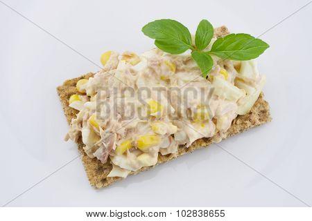 Multigrain crisp bread with tuna salad