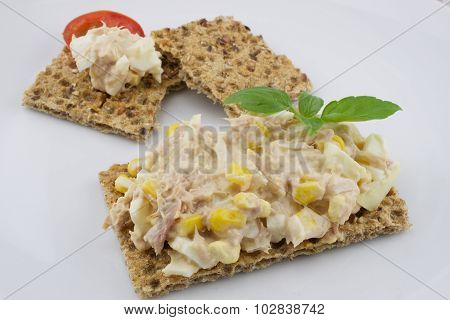 Multigrain crisp bread with tuna salad