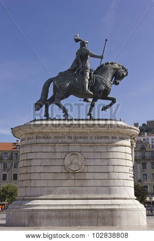 Close Up Of The Equestrian Statue Of King John I