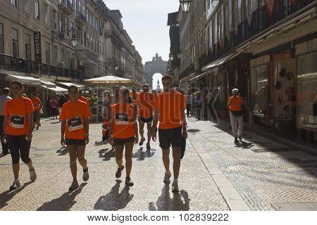 Participant Walking In Rua Augusta in Lisbon