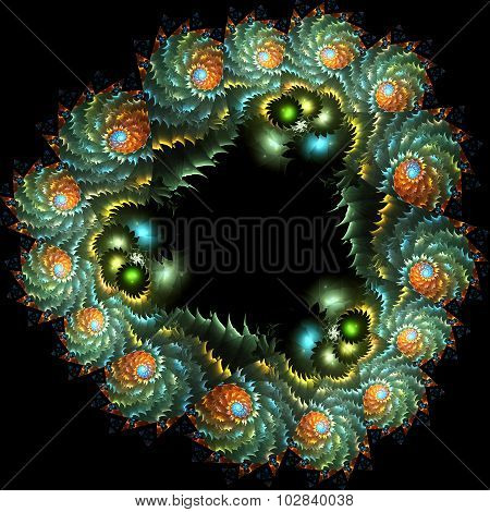 Abstract Computer-generated Image Of A Wreath Of Flowers And Leaves