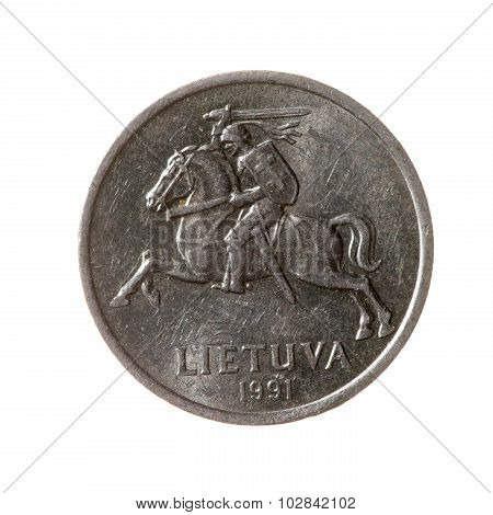 One Cent Coin Lithuania Isolated On White Background. Top View